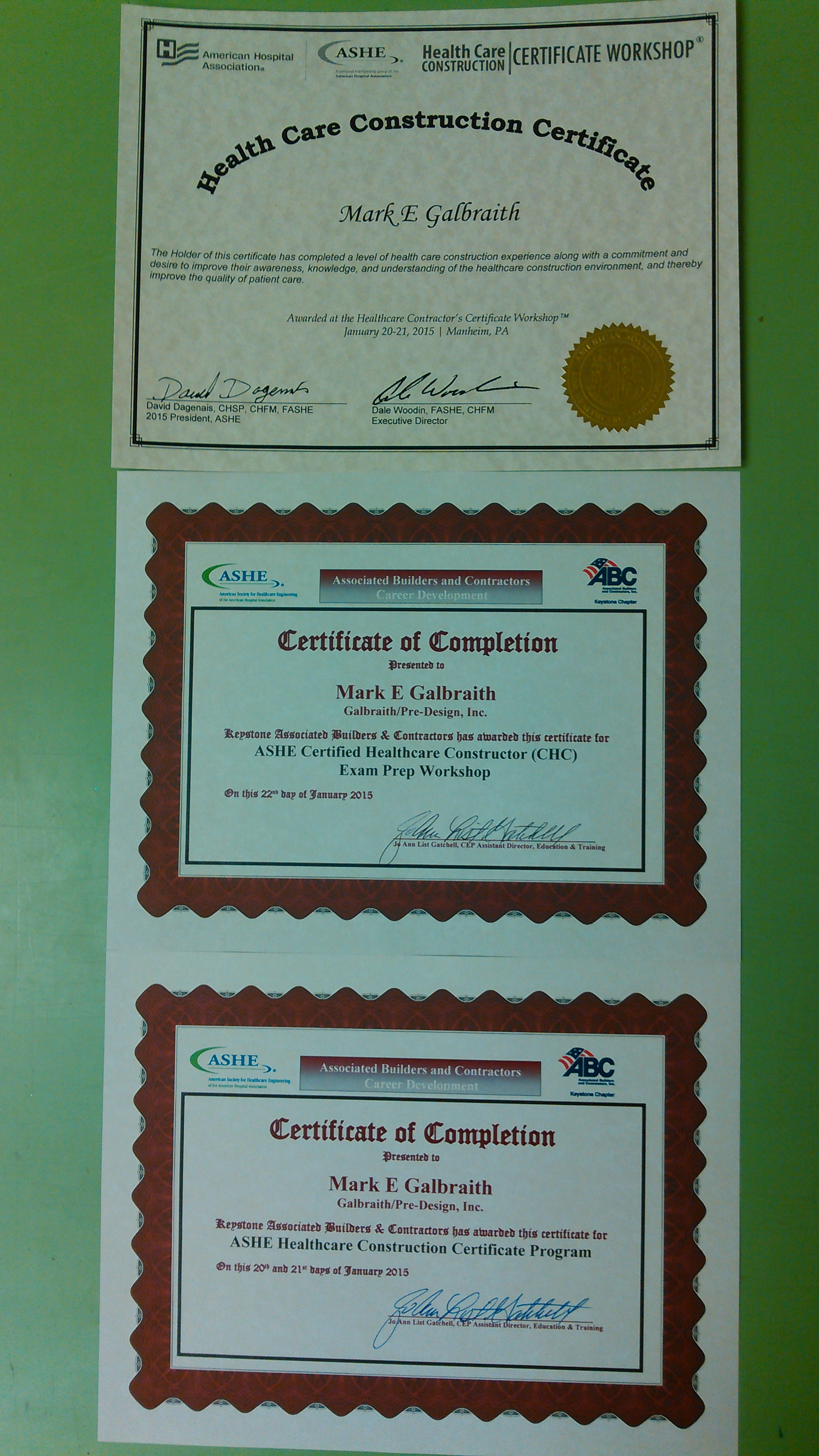 Ashe healthcare construction certificate galbraith pre design he also completed the ashe certified healthcare constructor chc exam prep workshop which coupled with a xflitez Image collections